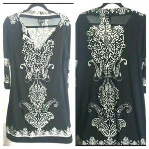 Black White Damask Size 16 Beach Dress